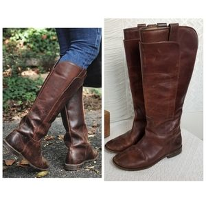 Frye Dark Brown Paige Tall Riding Antiqued Boots